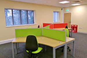 Office Furniture design and build as part of a large office refurbishment project completed by Acorn Works Ltd at a site Thetford, Norfolk.