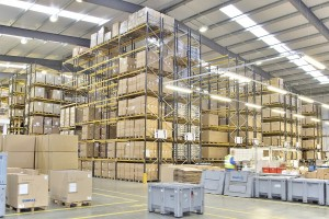 Large scale racking project supplied and installed by Acorn Works Ltd on a site in Derby, Derbyshire