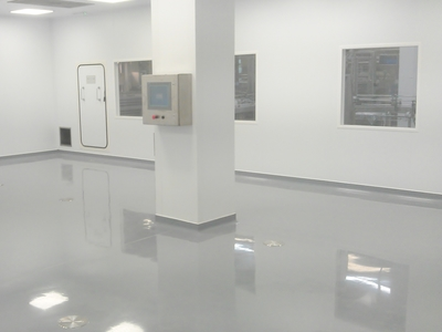 Pharmaceutical production cleanroom with resin floor, air handling system and suspended ceiling in Thetford, Norfolk by Acorn Works Ltd