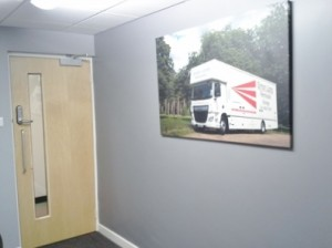 Reception Refurbishment project for local removal specialists Simon Long Removals based in Thetford, Norfolk completed by Acorn Works Ltd