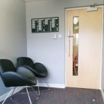Reception Refurbishment Seating and internal entrance door.