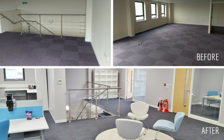 Before and After images of the DS Watson Office Refurbishment and Fitout Project in Beccles Norwich by Acorn Works Ltd