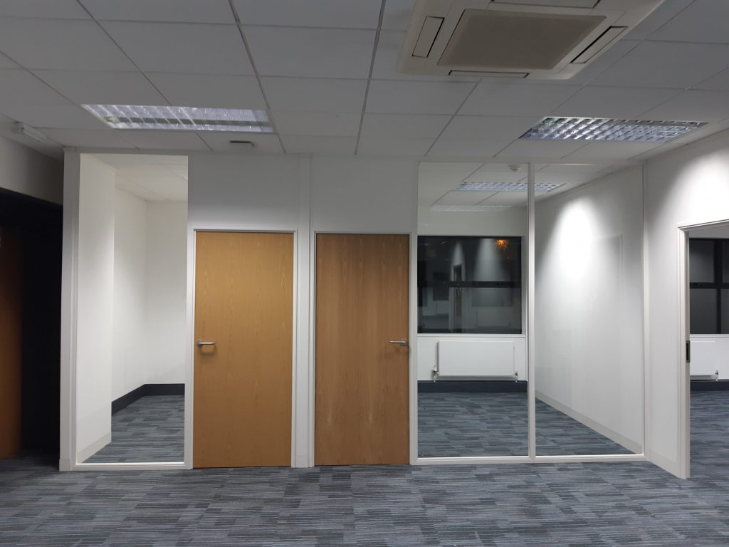 Office partitioning, glass walll