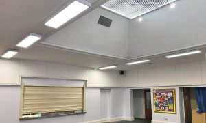 Ceiling Works Town Close School Hall, Norwich, Norfolk by Acorn Works Ltd