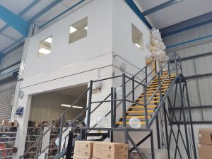 warehouse office on mezzanine floor