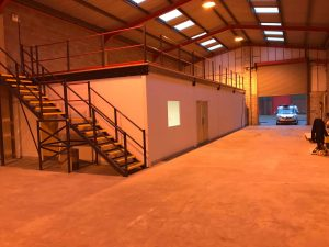 warehouse office and mezzanine
