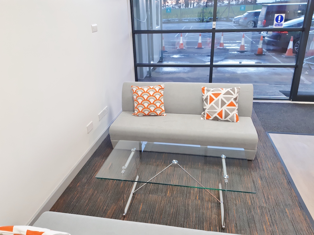 Reception area and glass wall
