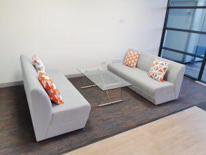 Refurbished office reception area