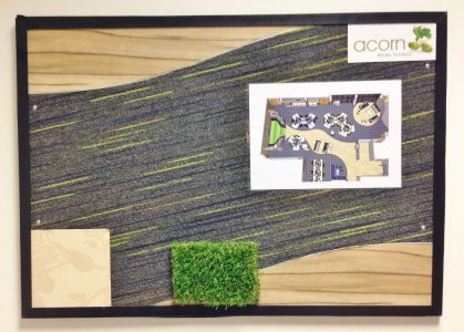 Sample Board for anOffice Refurbishment project in Diss, Norfolk by Acorn Works Ltd. As seen in Acorn Works case studies.